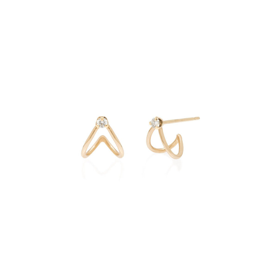 Zoe Chicco 14K Diamond Split Huggie Hoops - Pair