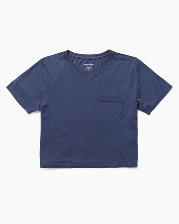 Boxy Crop Tee Navy