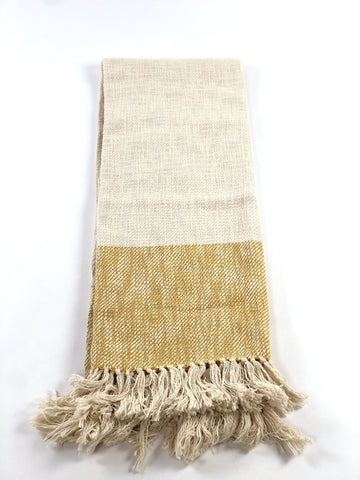 Handwoven Cotton Throw - Yellow Stripe