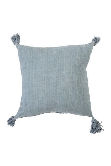 Linen Tassel Pillow - Blue