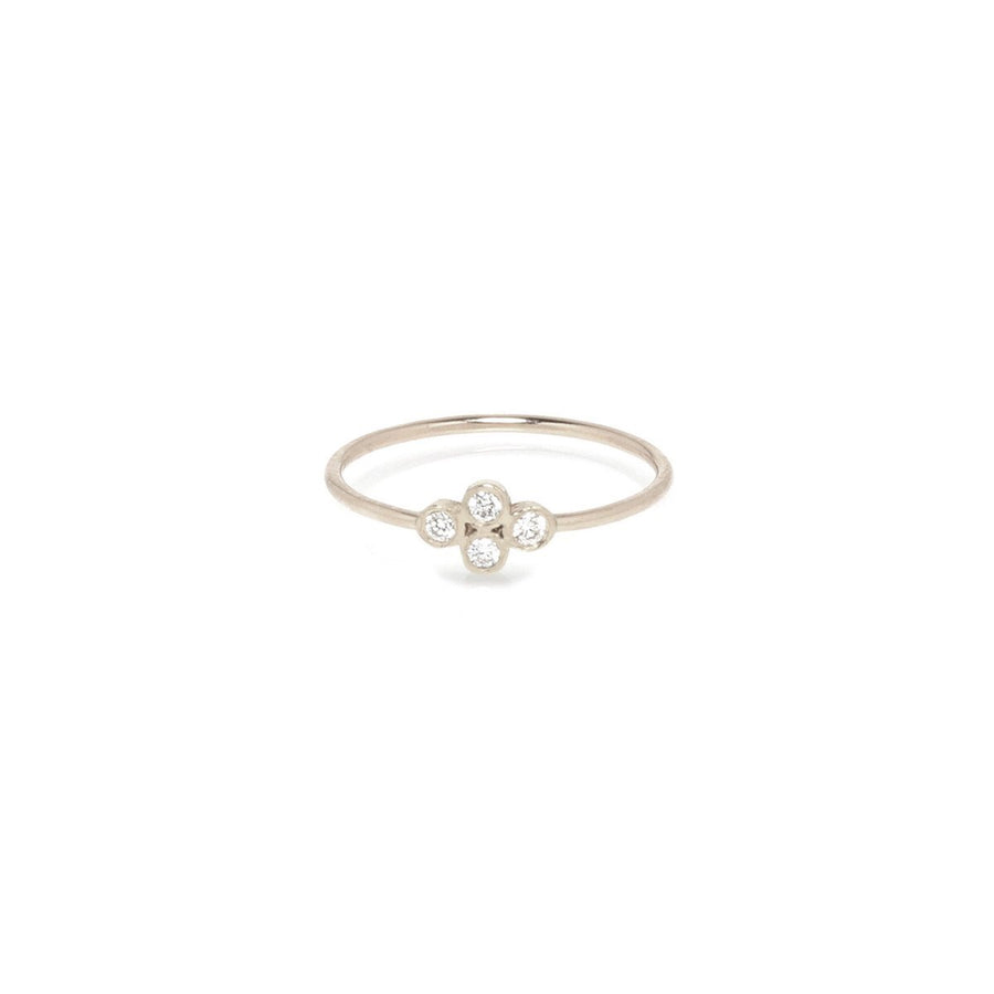 14K Diamond Quad Ring Sz 6