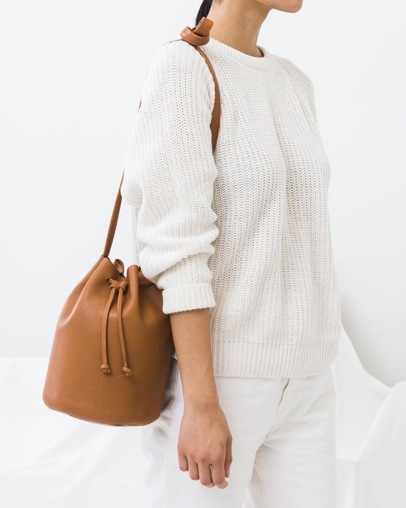 Leather Drawstring Purse - Caramel
