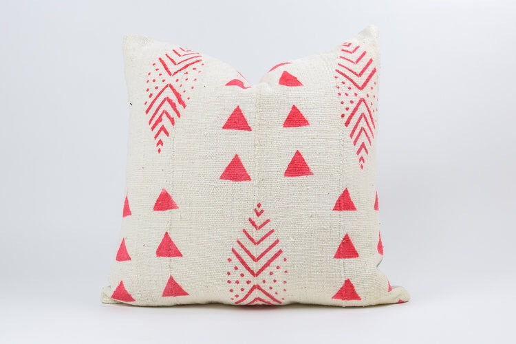 Pink & White Mudcloth Pillow