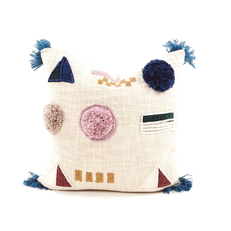 Pom Patchwork Pillow Multi