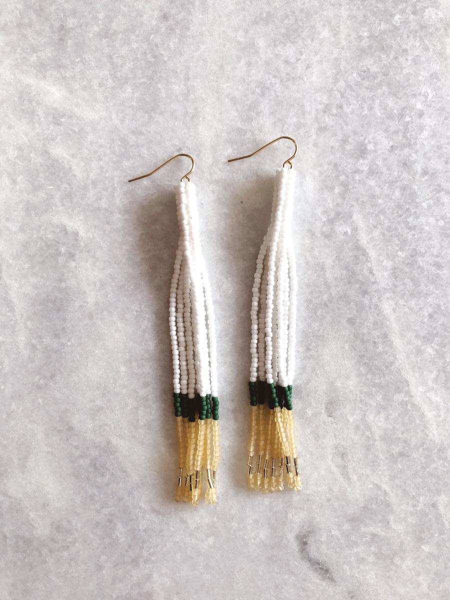 Gold Green & White Tassel Earrings