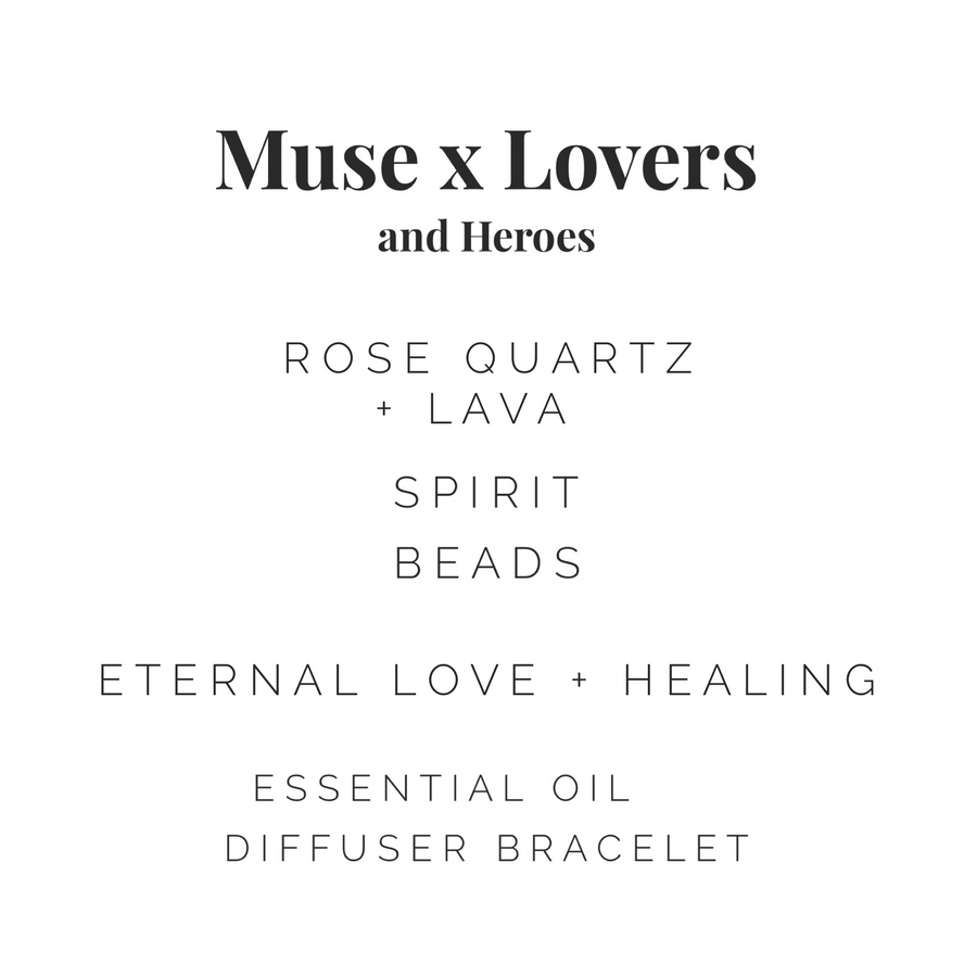 Muse + Lovers and Heroes Diffuser Bracelet - Rose Quartz