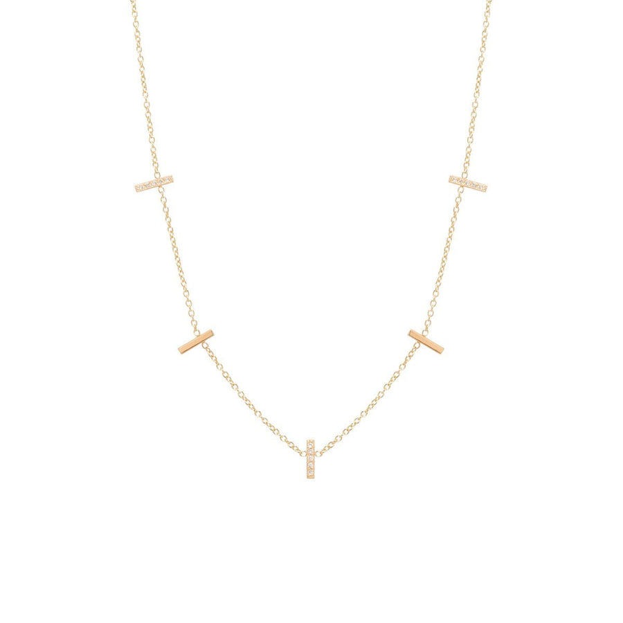 Zoe Chicco Tiny Pavé Diamond 5 Bar Necklace