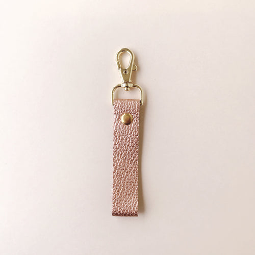 Classic Rose Gold Leather Loop Keychain