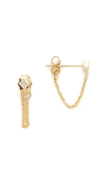 Zoe Chicco 14K Princess Diamond Stud Chain Earring - Single