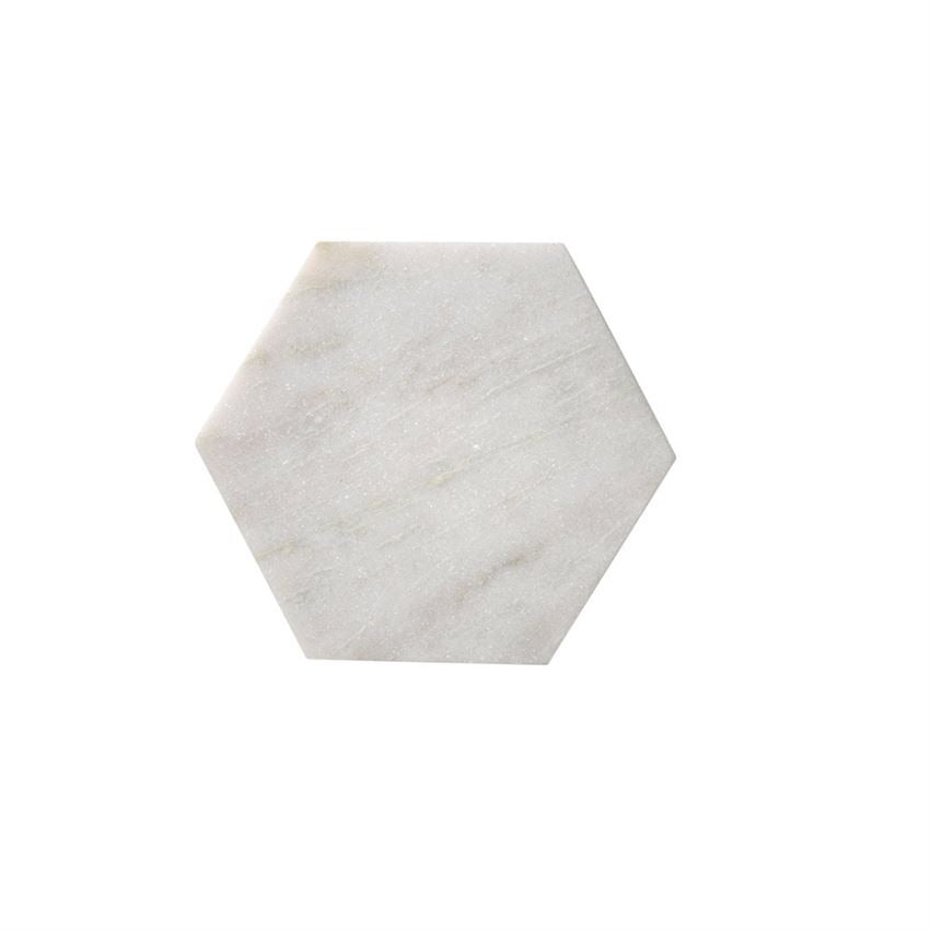 Large White Hexagonal Marble Tray