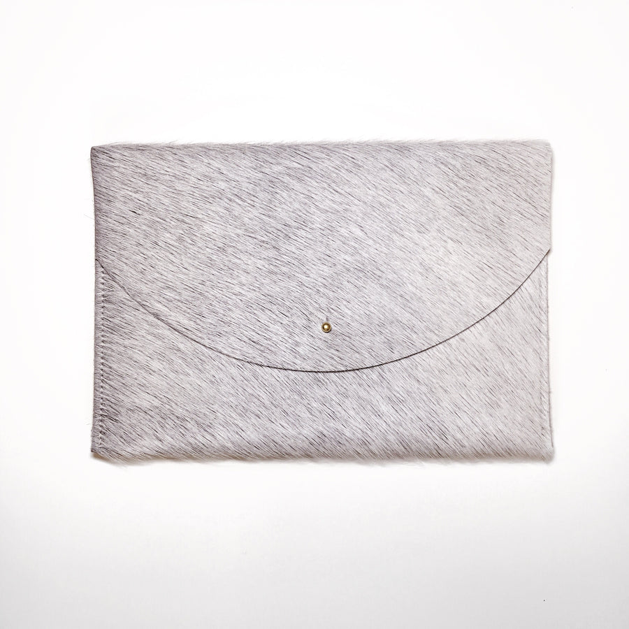 Sterling Grey Cowhide Envelope Clutch