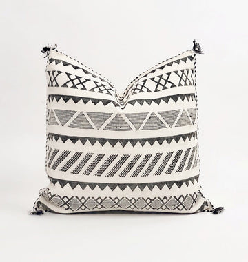 Moroccan Black + White Pillow