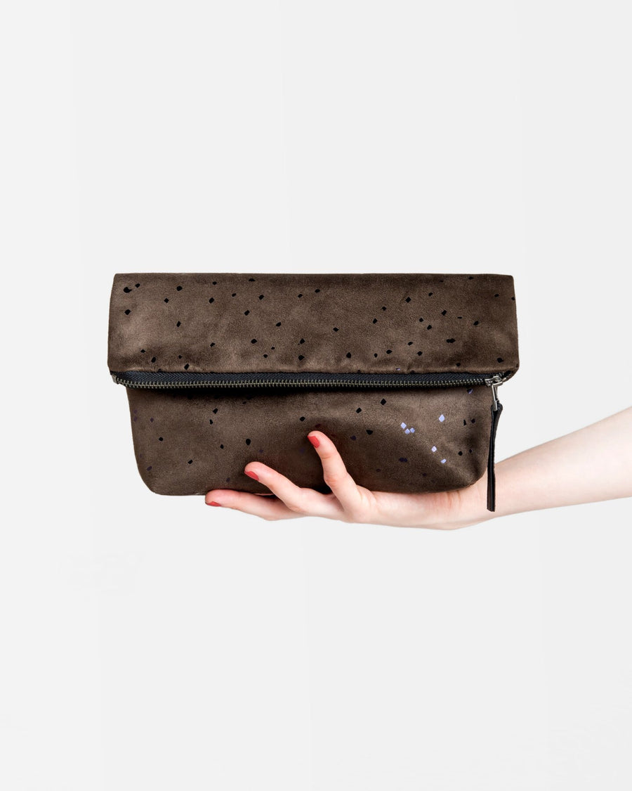Everything Foldover Clutch Savanna/Black