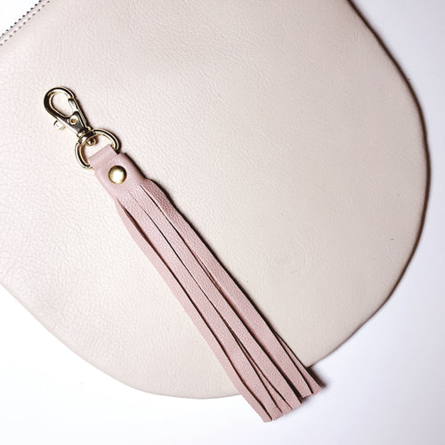 Light Peach Leather Tassel Keychain