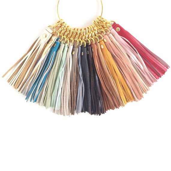 Mustard Leather Tassel Keychain