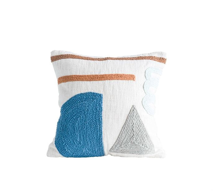 Square Cotton Pillow with Embroidery