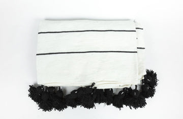 Moroccan Pom Blanket Black & White