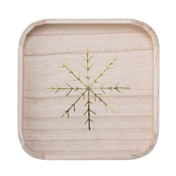 Square Wood Tray Gold Snowflakes