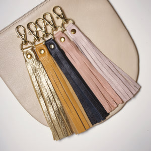Navy Leather Tassel Keychain