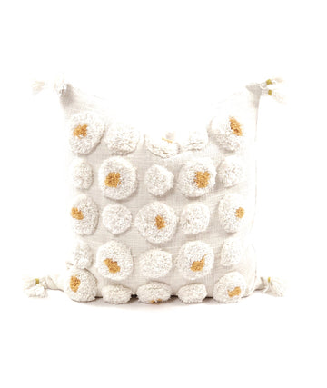 Pom Pillow Orange + Ivory
