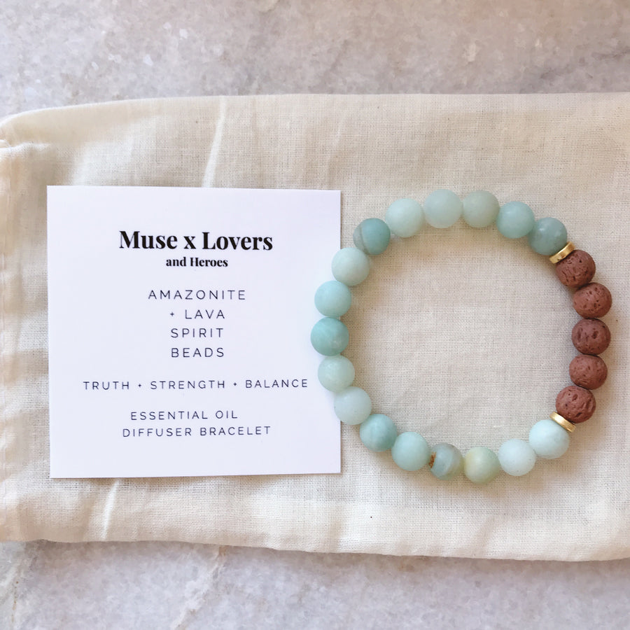 Muse + Lovers and Heroes Diffuser Bracelet - Amazonite