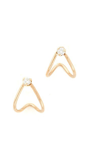 14K Diamond Split Huggie Hoops