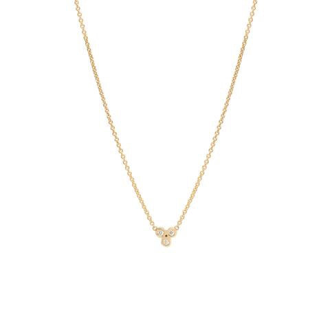 Zoe Chicco 14K Tiny Bezel Diamond Trio Necklace