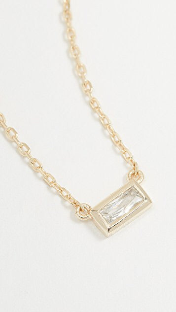 Baguette Solitaire Necklace