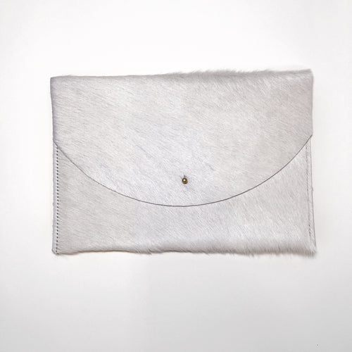 White Cowhide Envelope Clutch