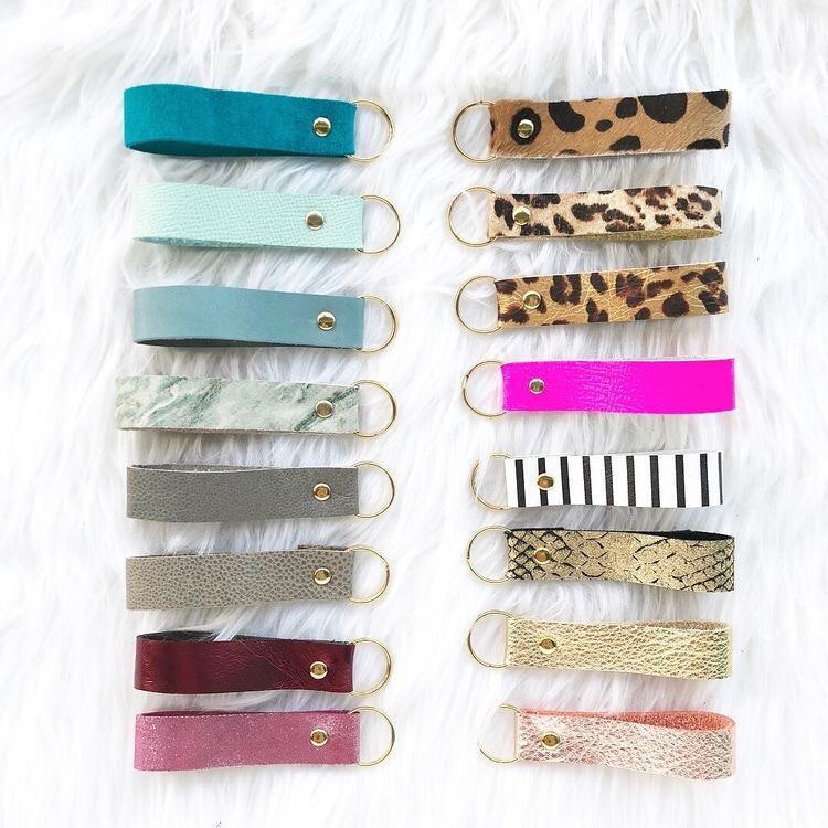 Classic Leopard Leather Loop Keychain