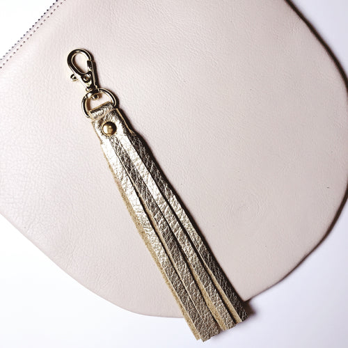 Rose Gold Leather Tassel Keychain