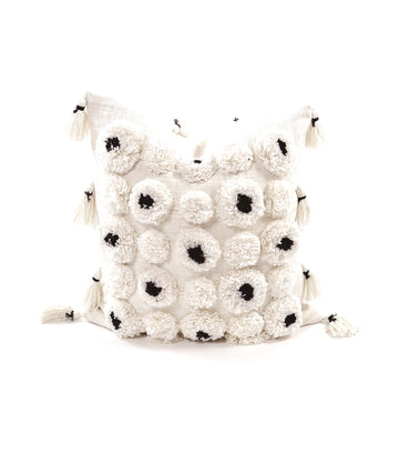 Pom Pillow Black + Ivory