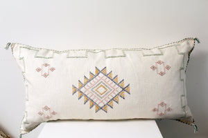 Ivory Green & Yellow Moroccan Pillow