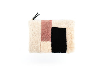Patchwork Sheepskin Clutch