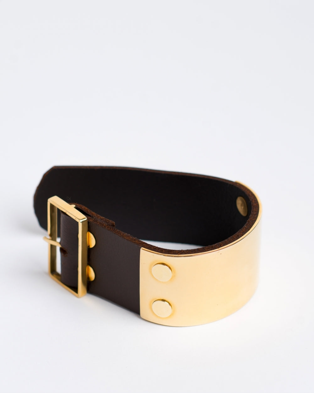 Wide Bronze & Leather Cuff