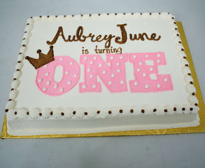 MaArthur's Bakery Custom Cake With Large One in Pink with Polka Dots and Gold Crown