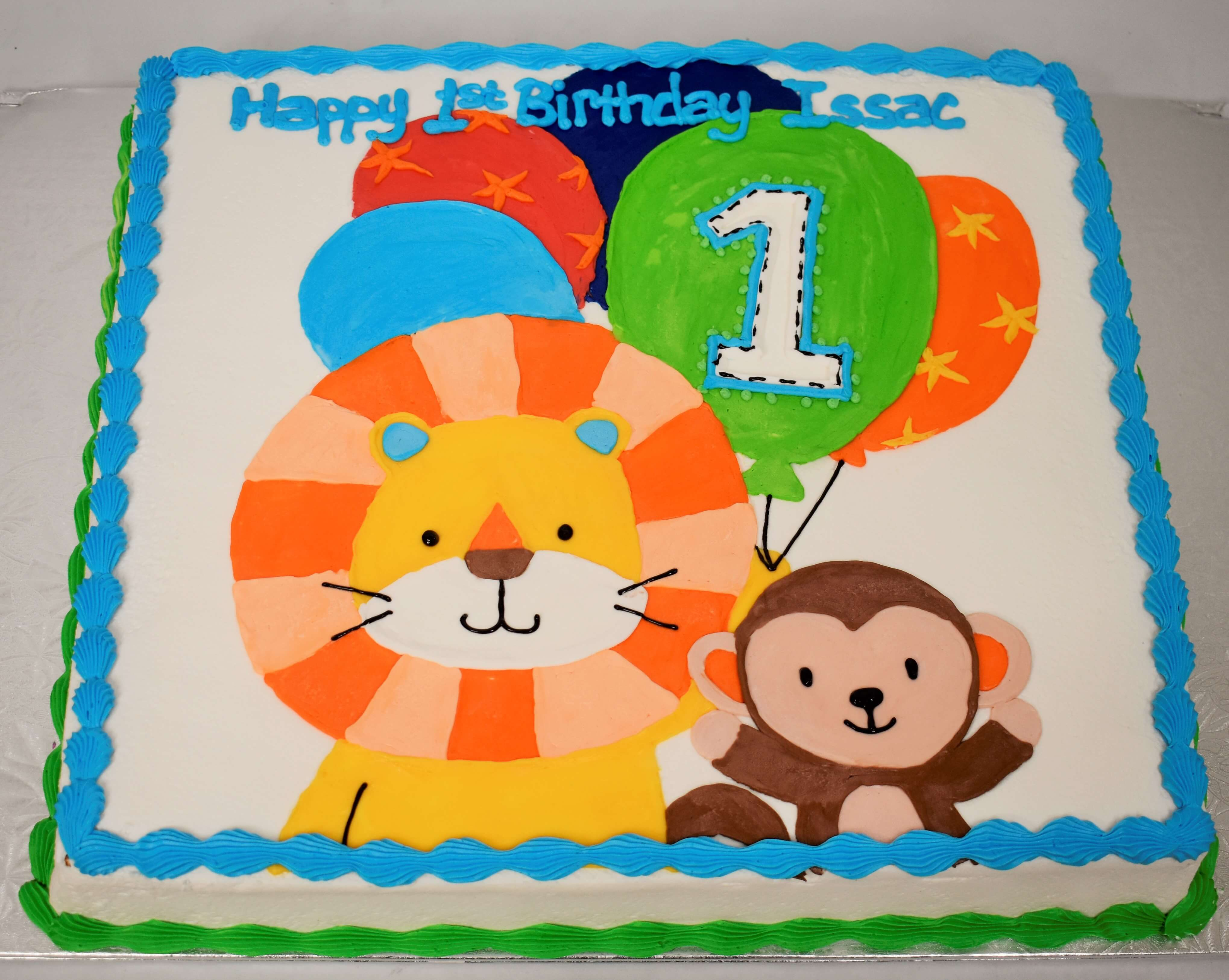 McArthur's Bakery Custom Cake with Monkey, Lion, Balloons.