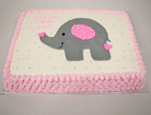 McArthur's Bakery Custom Cake with Gray Elephant, Pink Polka Dots and Pink Ruffle Sides