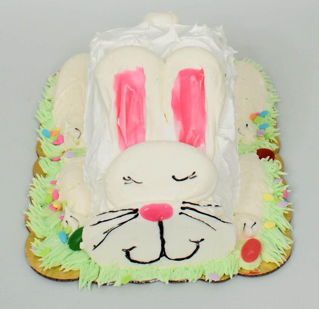 McArthur's Bakery cake designed in the shape of an Easter bunny.