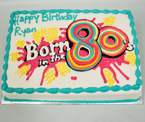 "MaArthur's Bakery Custom Cake With Born in the 80""s Paint Splatter"