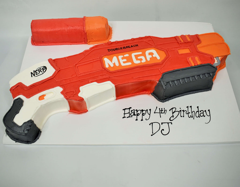 McArthur's Bakery Custom Cake with a Nerf Gun Cut Out