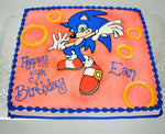 MaArthur's Bakery Custom Cake with Sonic Hedge Hog,  Red Background