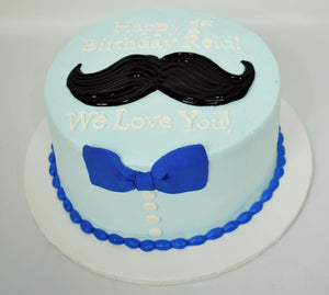 McArthur's Bakery Custom Cake with Black Mustache and Blue Bowtie