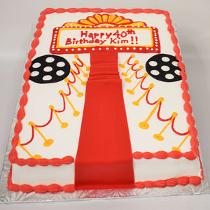 McArthur's Bakery Custom Cake with Red Carpet, Movie Reels.
