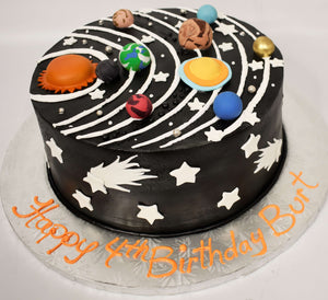 McArthur's Bakery Custom Cake with 3D Solar System, Stars on sides