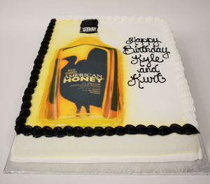 McArthur's Bakery Custom Cake with American Honey, Bottle, Yellow, Black.