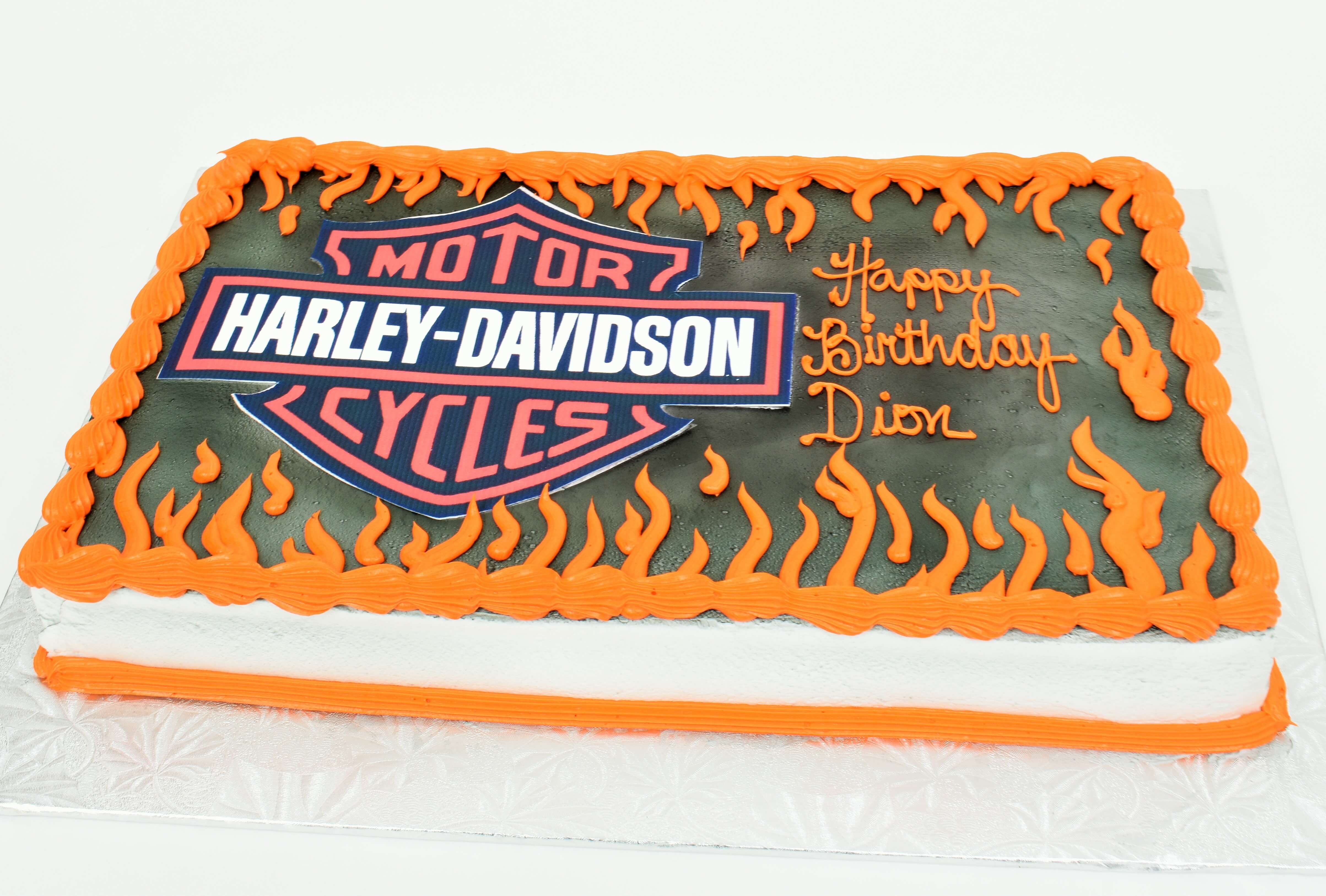McArthur's Bakery Custom Cake with Harley Davidson and Flames