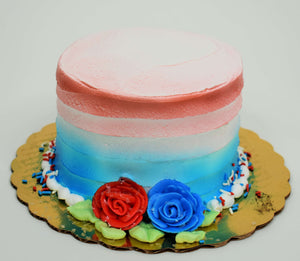 MaArthur's Bakery Custom Cake with Sprayed Red, White and Blue with a Red and Blue Rose