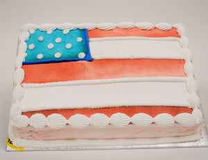 MaArthur's Bakery Custom Cake with American Flag. Airsprayed Red, White and Blue
