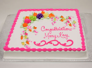 MaArthur's Bakery Custom Cake with Bright Assorted Colored Roese and Rosebuds